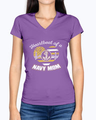 Proud Navy Mom Heartbeat Plus T-shirts
