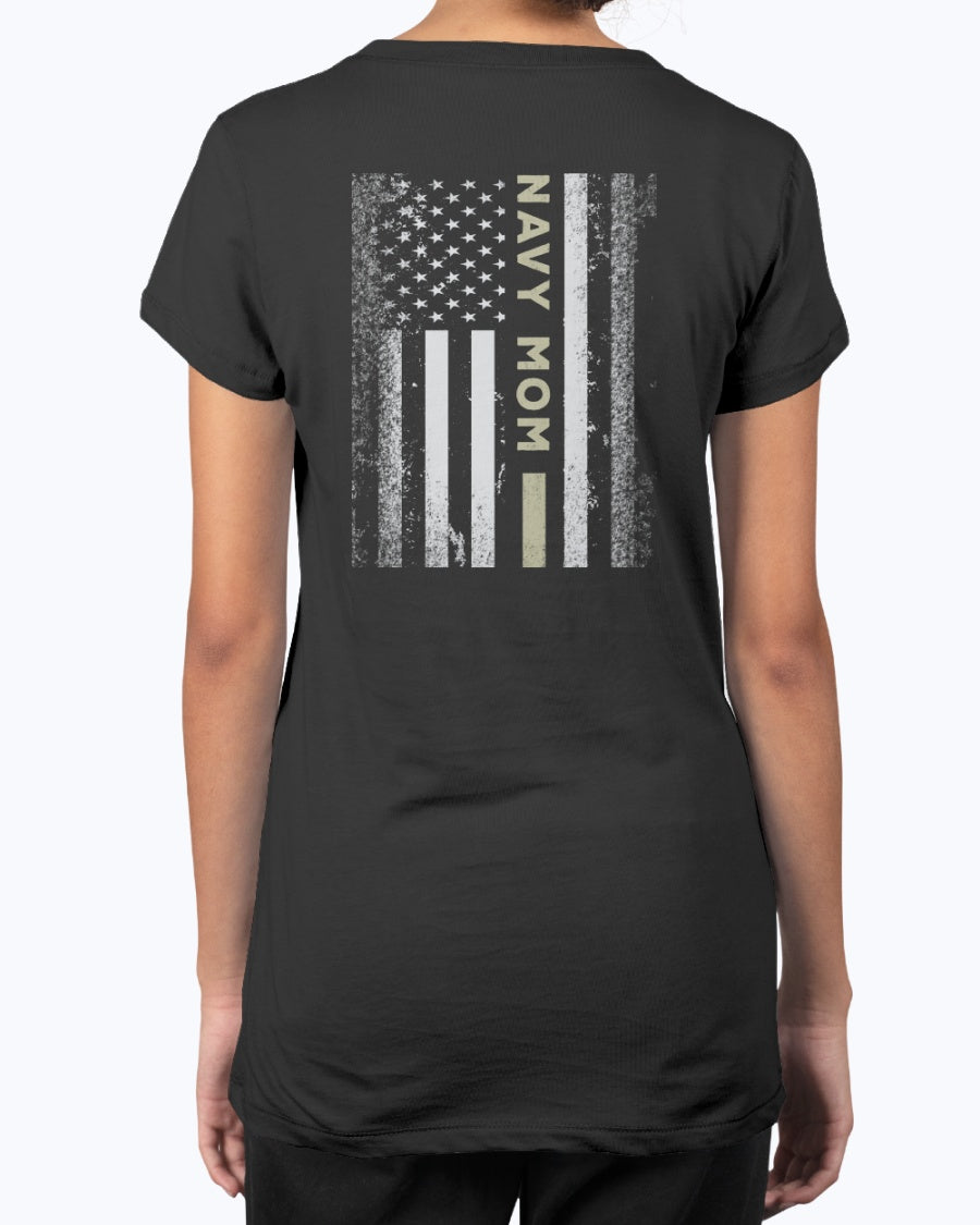 Proud Navy Mom Kid with Flag T-shirts