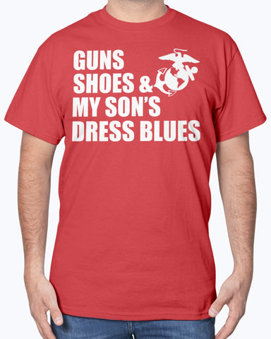 Proud Marine Mom Gun Shoes Dress Blues T-shirts