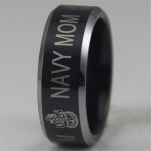 Rings - Navy Mom Black Comfort Fit Ring