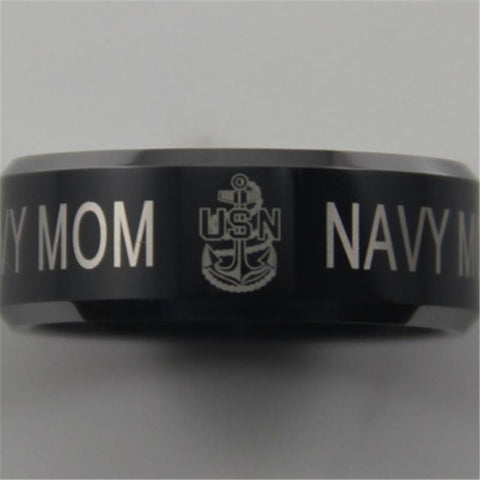 Navy Mom Black Comfort Fit Ring