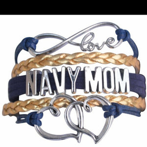 Double Heart Charm Navy Mom Bracelet - MotherProud