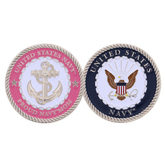 PROUD Navy Mom PINK ANCHOR CHALLENGE COIN - MotherProud