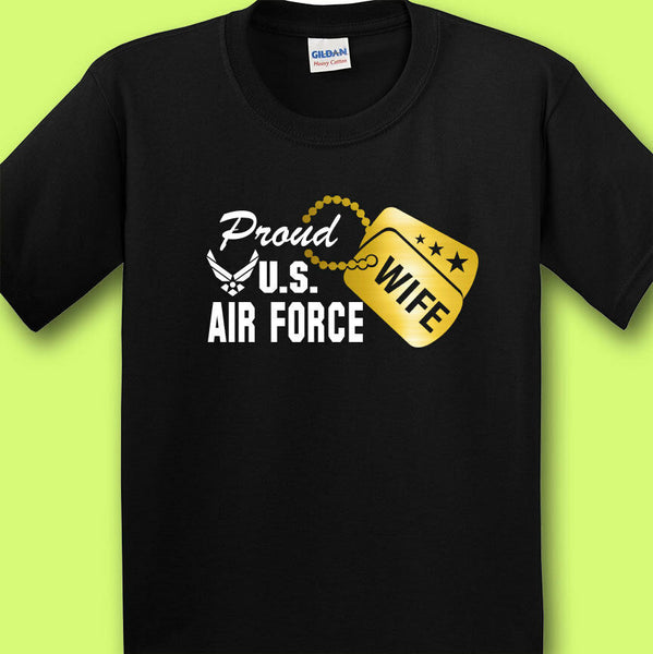 Proud Air Force Wife Dog Tag T-shirts