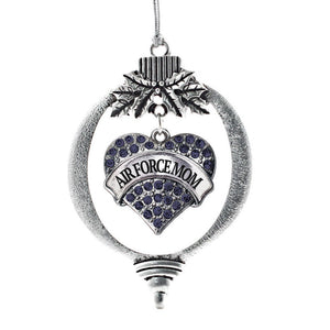 Air Force Mom Pave Heart Holiday Christmas Tree Ornament - MotherProud