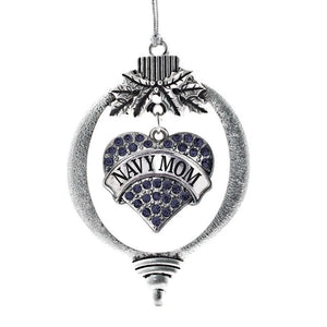 Navy Mom Pave Heart Holiday Christmas Tree Ornament