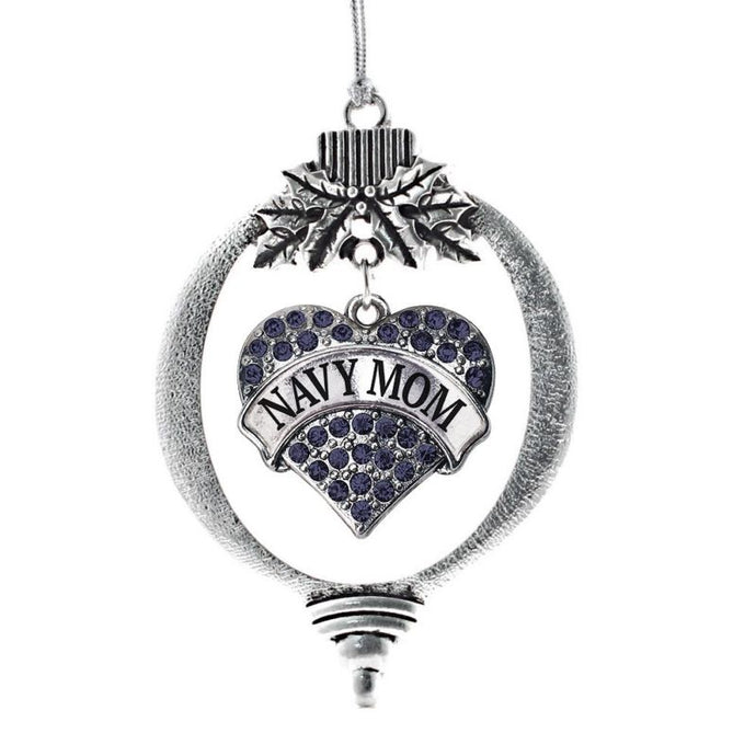 Navy Mom Pave Heart Holiday Christmas Tree Ornament - MotherProud