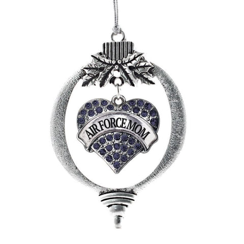 Air Force Mom Pave Heart Holiday Christmas Tree Ornament
