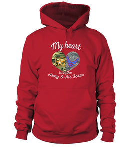 Army & Air Force Mom My Heart T-shirts - MotherProud