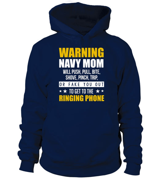 Navy Mom Warning T-shirts