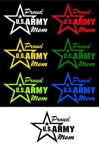 Proud Mom US Army Vinyl Car Decal
