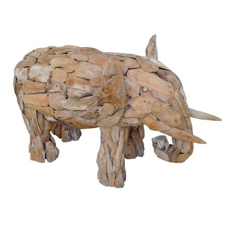 Baby Elephant Teak Sculpture