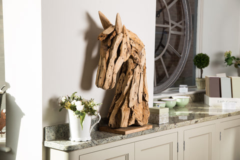 Teak Root Horse Head Sculpture