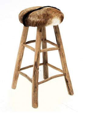 Rustic Goat Hide High Stool