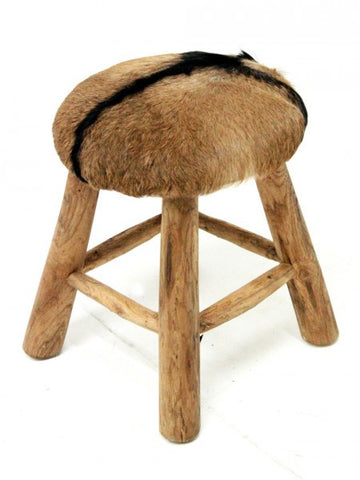 Rustic Goat Hide Low Stool Round