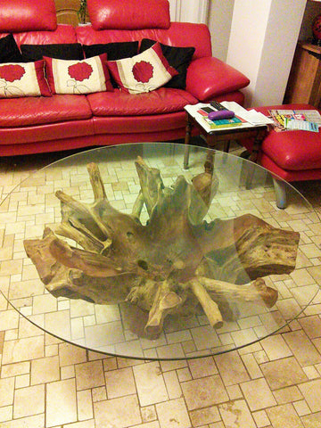 Root Round Coffe Table With 1100mm x 1100mm Glass Top