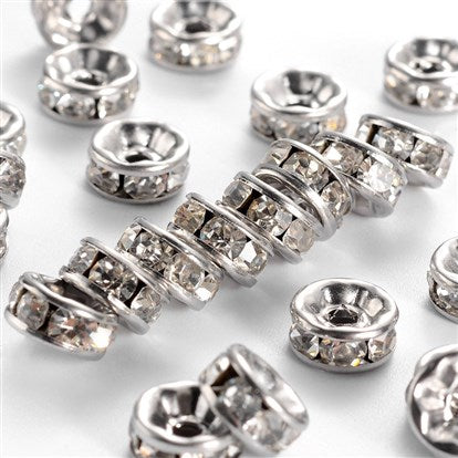 Stainless Rhinestone Rondelle Spacers