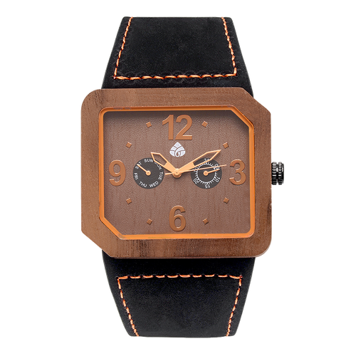 Leafwoods Terra Juglan Orange, Mens Wood Watch