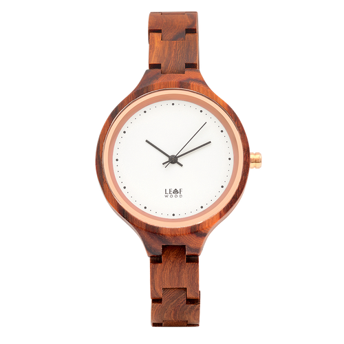 Leafwood's Virago Red, Women's Wood Watch