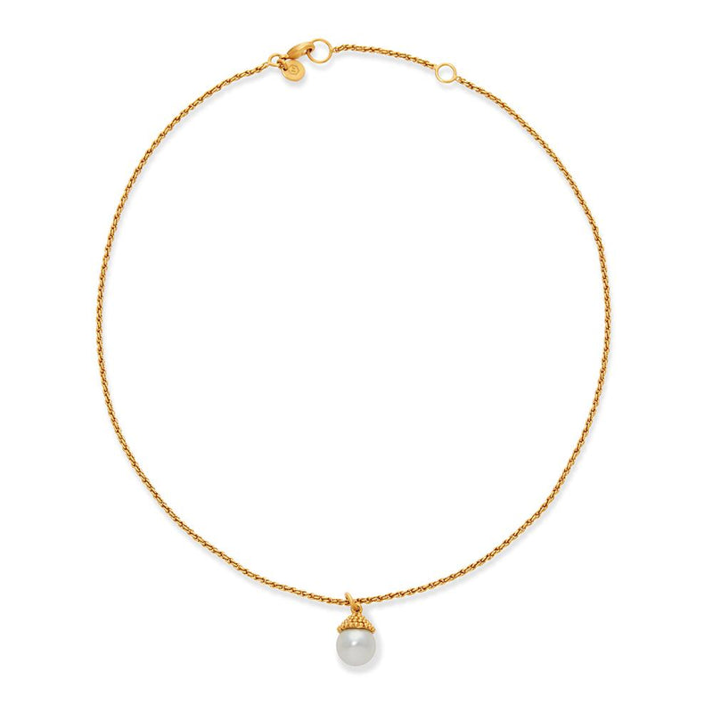 Florentine Charm Necklace Gold Pearl