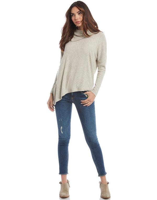 Asymmetric Drape Neck Sweater Top