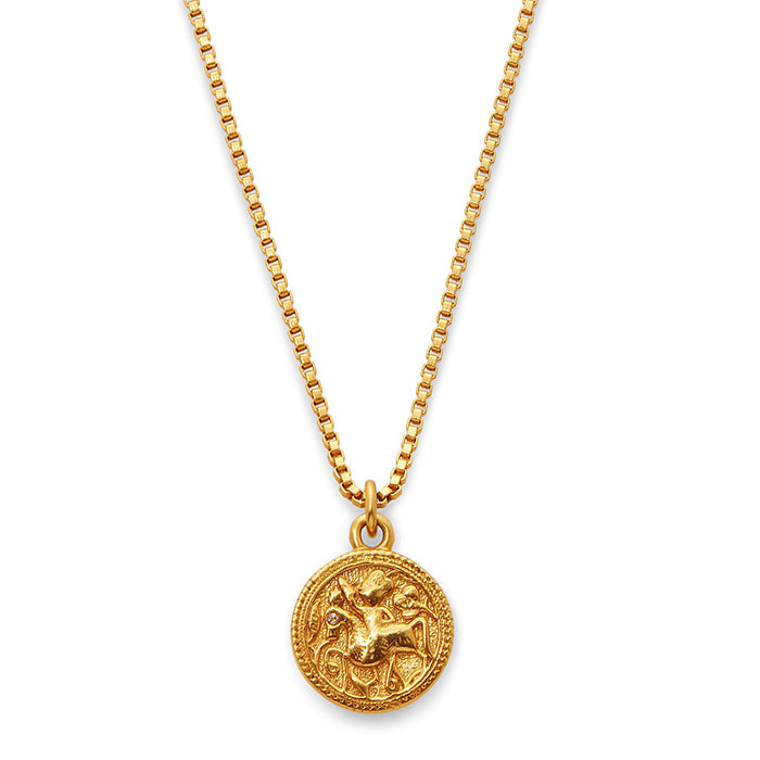 Coin Charm Necklace Gold Zircon