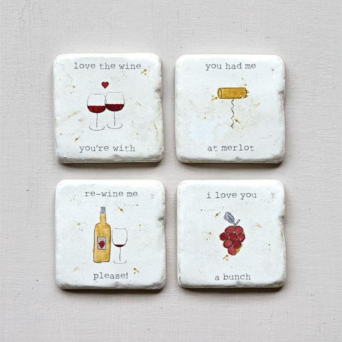 Wine Sayings Coasters with Easel