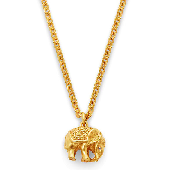 Elephant Charm Necklace Gold Zircon