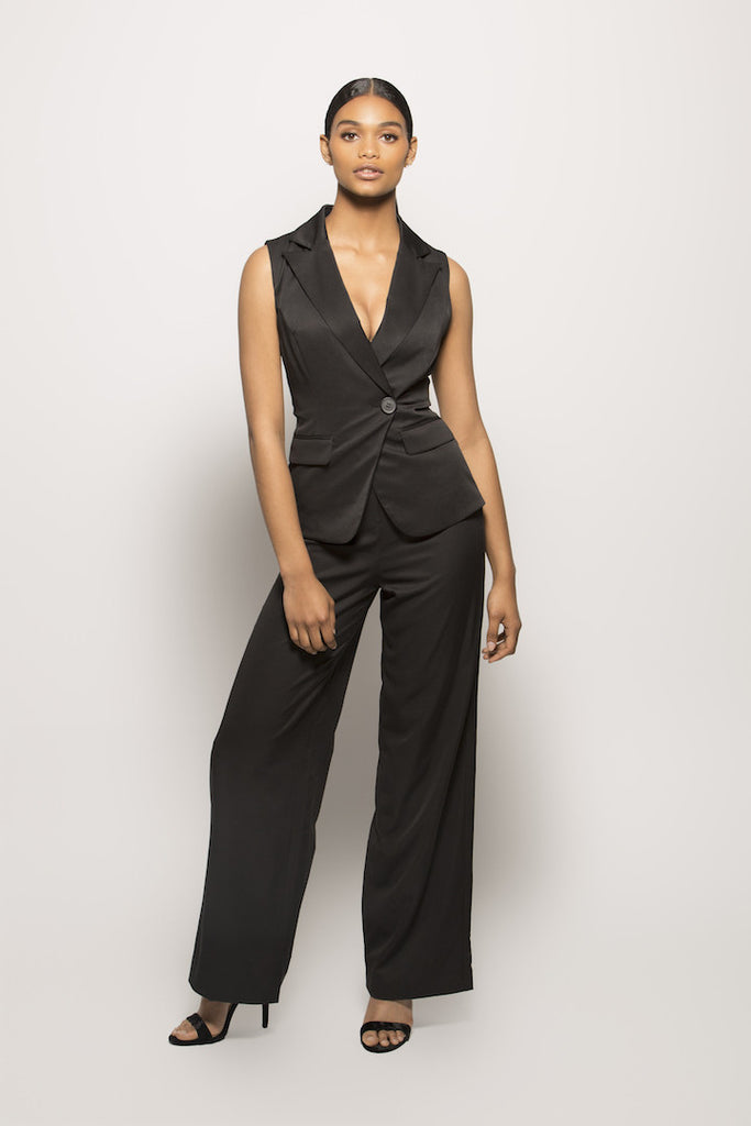 Black Vest Jumpsuit