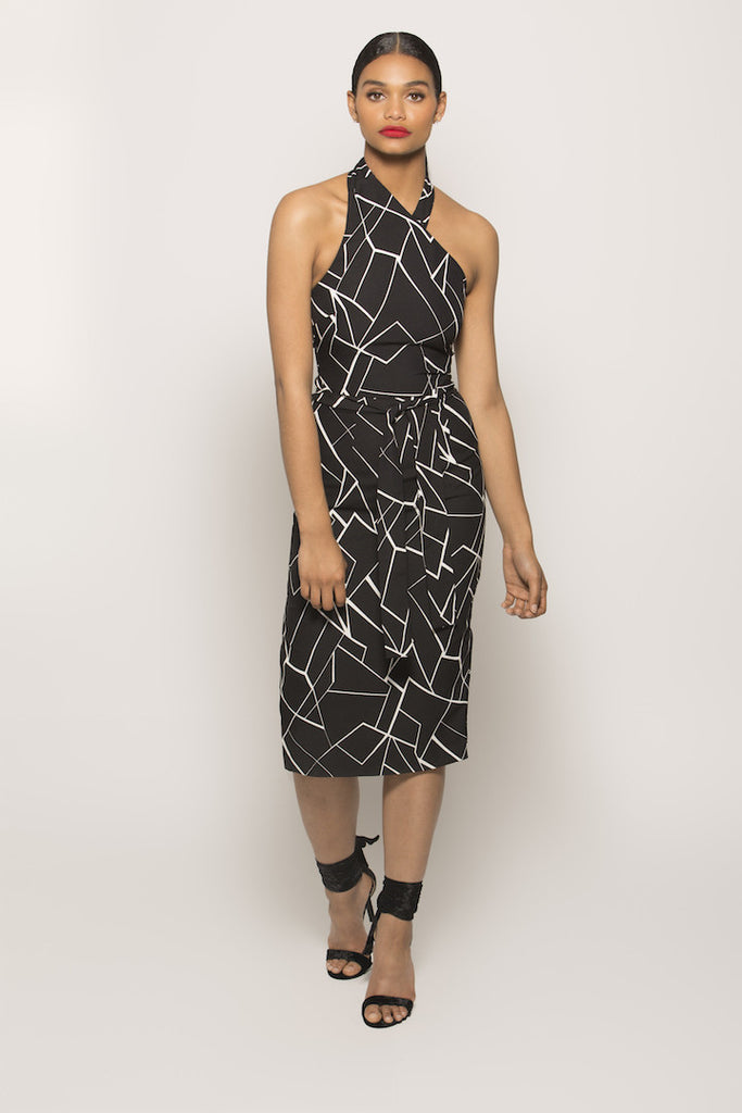 Black & White Abstract Print Wrap Midi Dress