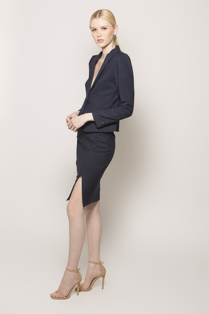 Navy Zip It Suit Blazer