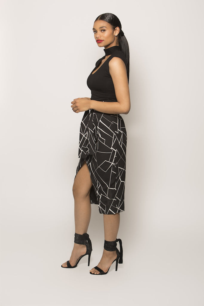 Black and White Abstract Print Wrap Midi Skirt