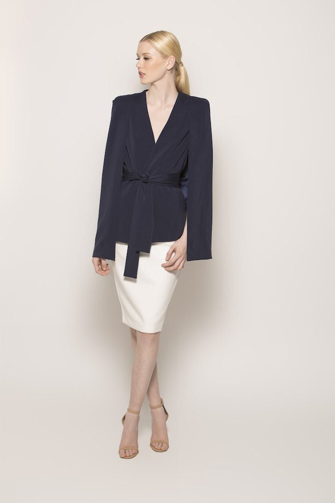 Samantha Navy Cape Blazer