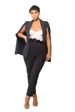 Navy Zip It Split Suit Skirt