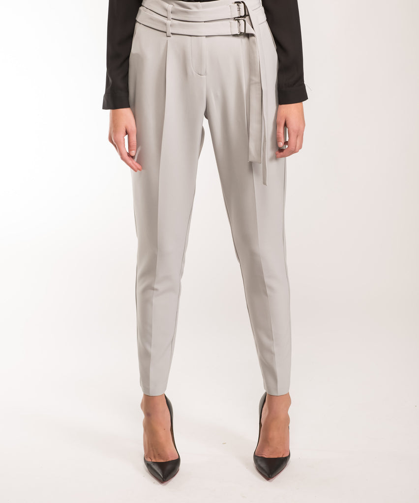 Protocol Double Belted Grey Trousers