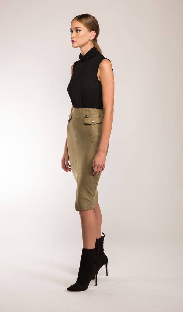 Sassy Faux Suede Pencil Skirt