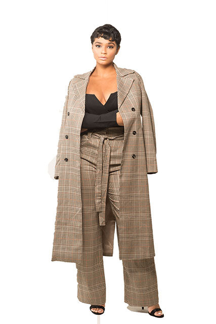 Plaid Coat & Trouser Set