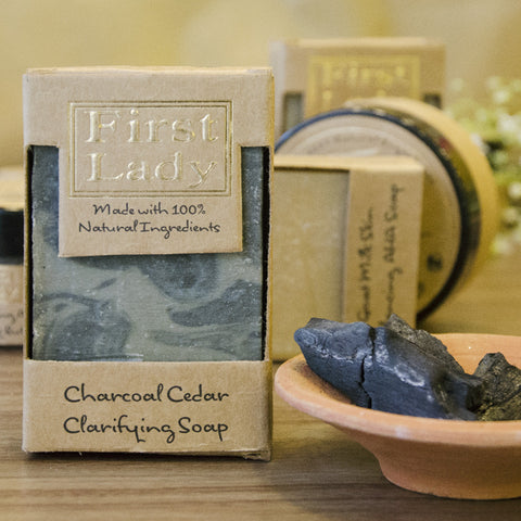 First Lady Handmade Natural Charcoal Cedar Clarifying Soap