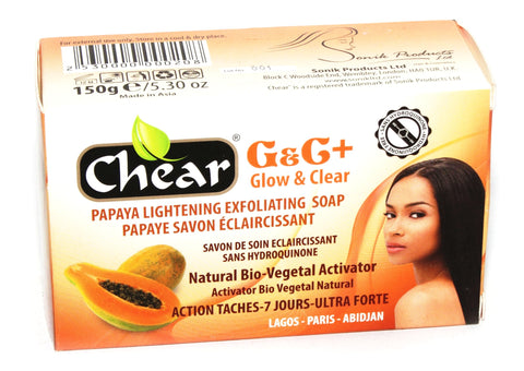 Chear G&C+ Glow & Clear  Papaya Lightening Exfoliating Soap