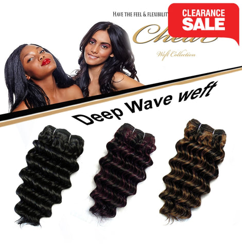 "Chear Deep Wave  (2In1)  8"" Blended Human Hair Weft - Elysee Star"