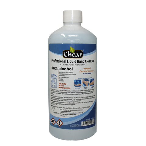 Chear Professional Liquid Hand Cleanser with 70% Isopropyl Alcohol (IPA) - Rubbing