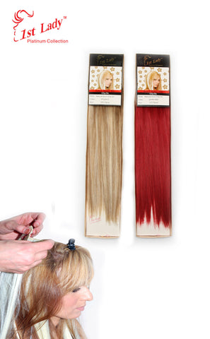"1st Lady Natural Euro Silky Straight Clip-On 14"" (12pcs)"