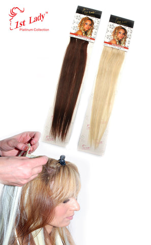 "1st Lady Natural Euro Human Hair Blended Clip on Hair Extensions 18"" (3Pcs) - Elysee Star"