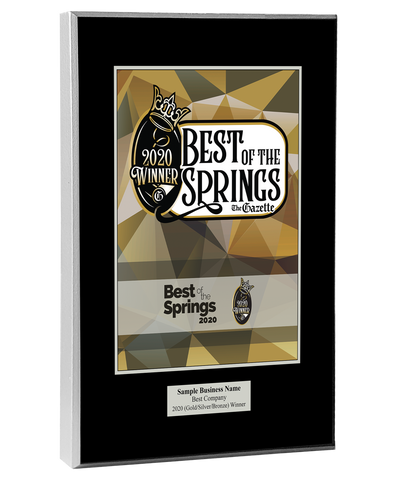 Best of the Springs 2020 Plaque
