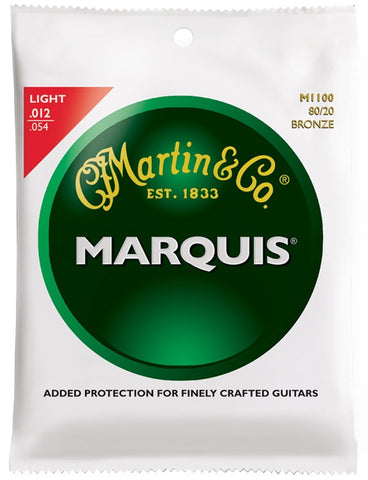 Martin Marquis 80/20 Bronze Acoustic Guitar Strings, Light (12 - 54) - Set of 4