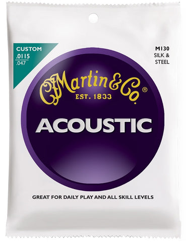 Martin Standard Folk Acoustic Guitar Strings, Silk & Steel (11.5 - 47) - Set of 4