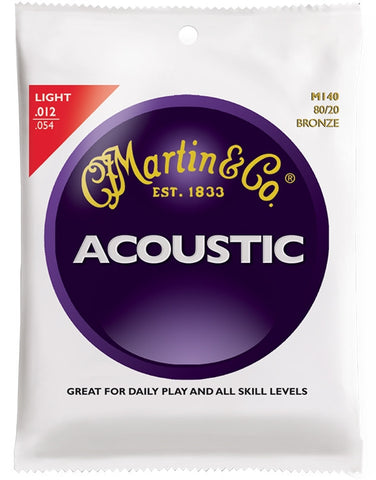 Martin 80/20 Bronze Acoustic Guitar Strings, Light (12 - 54) - Set of 4