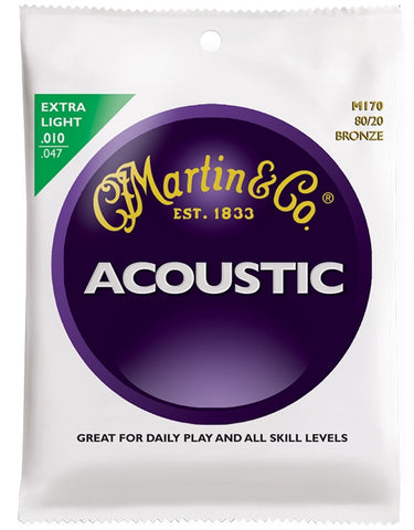 Martin 80/20 Bronze Acoustic Guitar Strings, Extra Light (10 - 47) - Set of 4