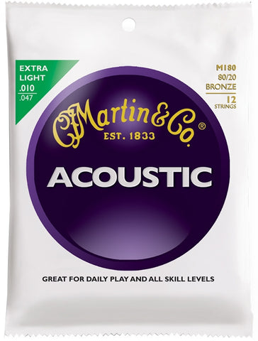 Martin 80/20 Bronze Acoustic Guitar Strings, 12 String Extra Light (10 - 47) - Set of 4