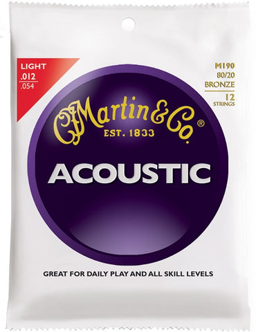 Martin 80/20 Bronze Acoustic Guitar Strings, 12 String - Light (12 - 54) - Set of 4
